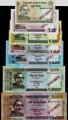 Bangladesh New 2018-2012  Taka Banknote Specimen UNC