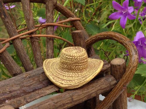 Miniature Dollhouse FAIRY GARDEN ~ Polyresin Straw Yard Garden Hat ~ NEW
