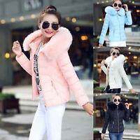 UK Womens Winter Warm Down Cotton Jacket Slim Short Fur Collar Hooded Coat Parka