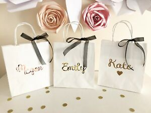 Image Is Loading Personalised Wedding Gift Bags Bridesmaids Flowers Hen Party