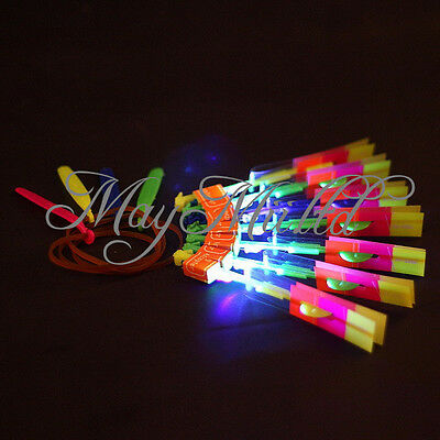 1/12 Flying Rotating Rocket Helicopter Flash LED Light Toy Fun Elastic Gift S