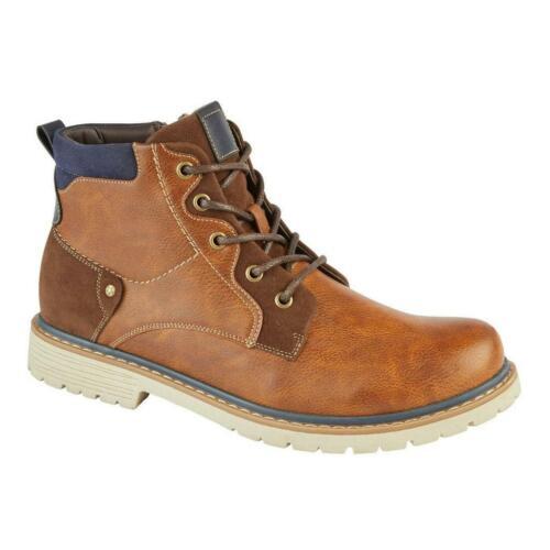 New Mens Combat Biker Dealer Lace Up Faux Leather Fashion Ankle Boots Shoes Size