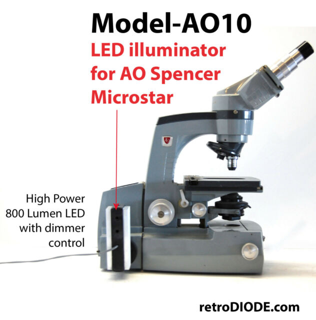 LED illuminator Kit with dimmer control for older A O microscopes