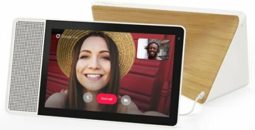 NEW Lenovo 10 Smart Display with Google Home Assistant White Front/Bamboo Back