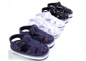 Newborn Baby Boy Soft Sole Navy Crib Shoes Toddler Summer Sandals Size 0-18 M