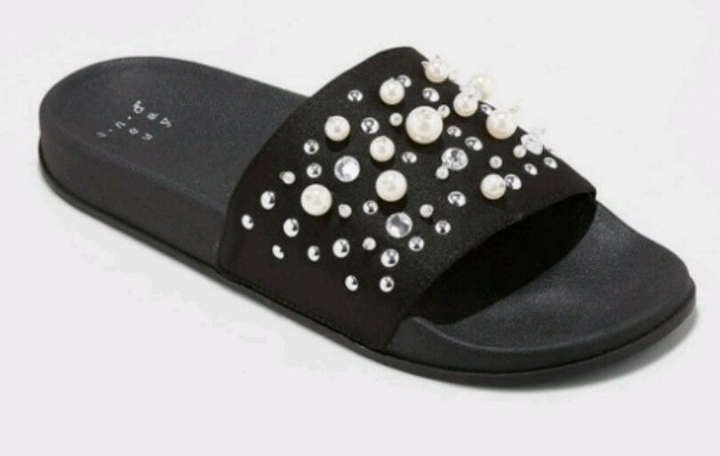 A New Slide Day™ Women's Black Stretch Fabric Paris Embellished Slide New Sandals - NWT 1fe29b