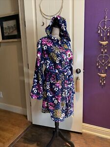 Vera Bradley African Violet Plush Terry Robe Hood and Front Pockets Sash  L XL