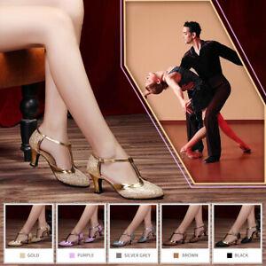 Women-Ladie-039-s-Latin-Dance-Shoes-Ballroom-Tango-Salsa-Dance-Party-Buckle-Shoes-5