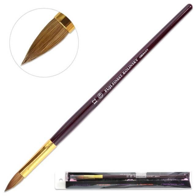 Fuji Finest Kolinsky Acrylic Nail Brush with Purple Wood Handle Size 12
