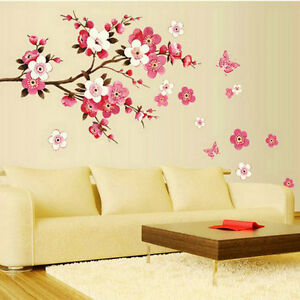 Removable-Flower-Peach-Butterfly-Wall-Stickers-PVC-Wall-Decals-Home-Room-Decor-F