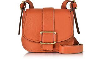 5d319a608e9 NWT MICHAEL KORS MAXINE Medium Leather SADDLE BAG Orange -  328 ...