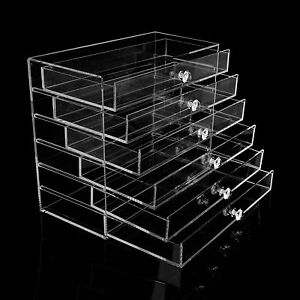 Image is loading Extra-Large-6-Tier-Clear-Acrylic-Makeup-Drawers- & Extra Large 6 Tier Clear Acrylic Makeup Drawers Holder Case Box ... Aboutintivar.Com