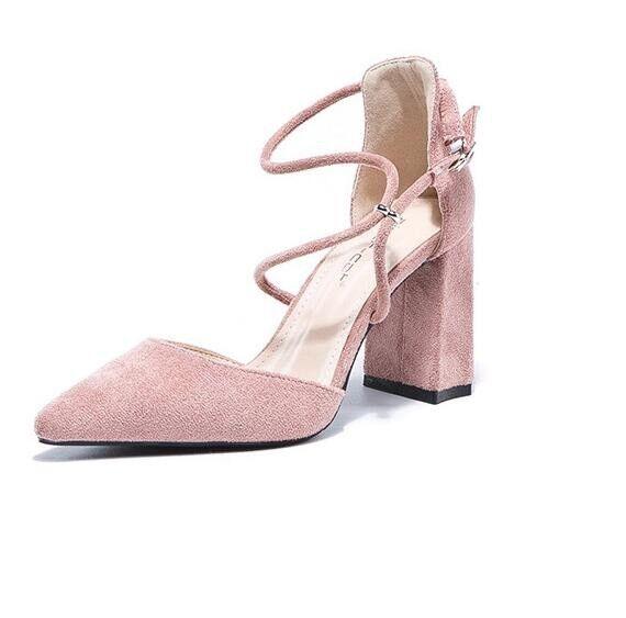 holzschuhe hausschuhe 9 cm elegant rosa absatz quadrat Sandaleeen simil leder 9965