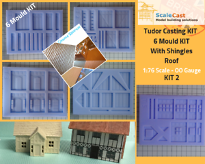 Model Railway TUDOR FULL 6 MOULD KIT - OO Gauge - Including SHINGLE ROOF
