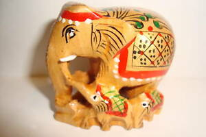 Indian-Carved-amp-Painted-Wooden-034-Lucky-Elephant-034-Family-uk-seller