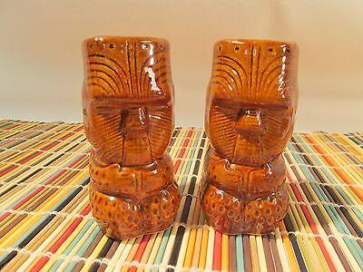 2 BrownTiki Shot Glasses Figural EUC Rum Fire Shooter Toothpicks Collector Aloha