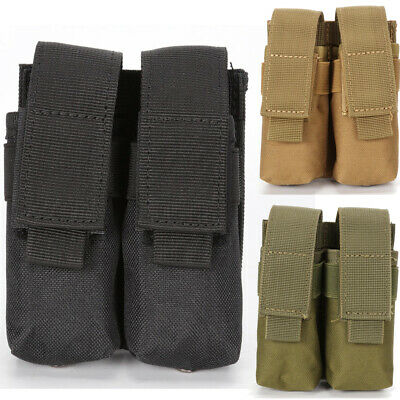 Tactical Molle Dual Double Pistol Mag Magazine Pouch Nylon Close Holster US