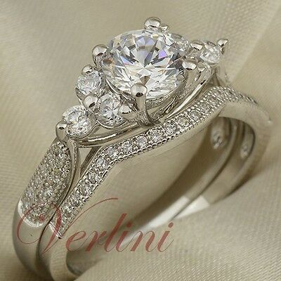 VERLINI 1.75 Ct Round Cut Cubic Zirconia 925 Silver Wedding Ring Set Size 5-10