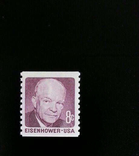 1971 8c Eisenhower, Deep Claret, Coil Scott 1402 Mint F