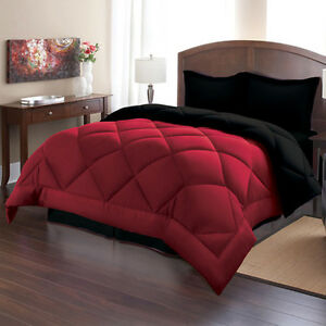 comforter set king size burgundy black reversible bed in a