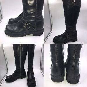 cb6ef97eb3b Details about John Fluevog Sz 6 39 Black Leather Bondgirl Knee Length Biker  Boots