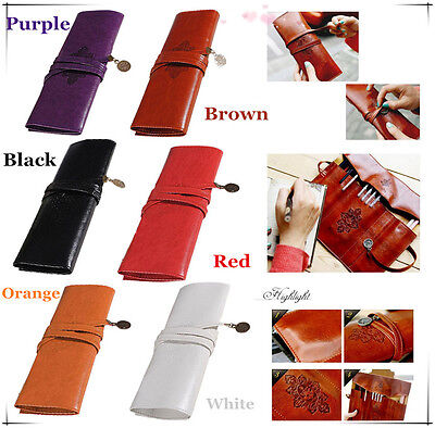 Retro Vintage Roll Leather Make Up Cosmetic Pen Pencil Case Pouch Purse Bag Box