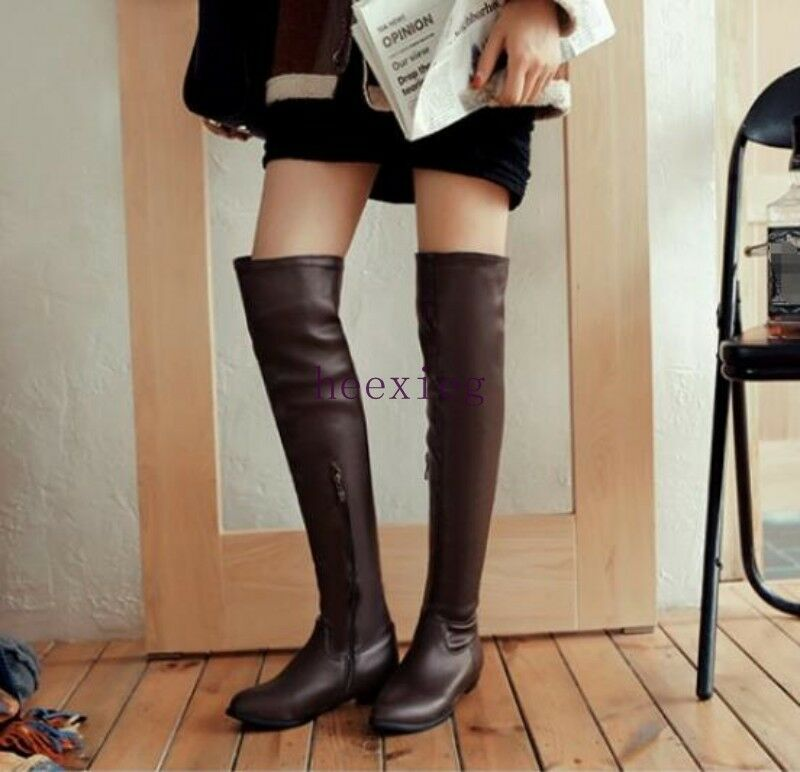 Europe Women's Pointed Toe Flat Heels PU Leather Overknee Thigh Boots Plus Sz 13