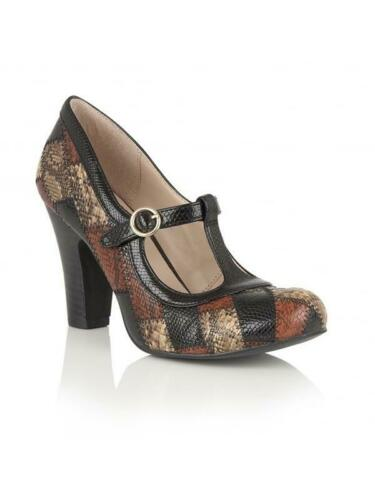 Ladies Lotus Phyllis Brown Multi Snake Print Mary Jane Vintage Court T-Bar Shoes
