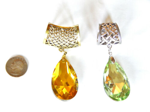 NWT SILVER or GOLD TONE SCARF RING W//ICE GREEN OR GOLD MULTI-FACETED PENDANT