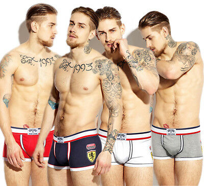 Men Bulge Pouch Boxer Briefs Cotton Racing Underwear Underpants M-XXL