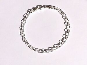 NEW Genuine Solid 925 Sterling Silver Oval Belcher Ladies Anklet TOP QUALITY