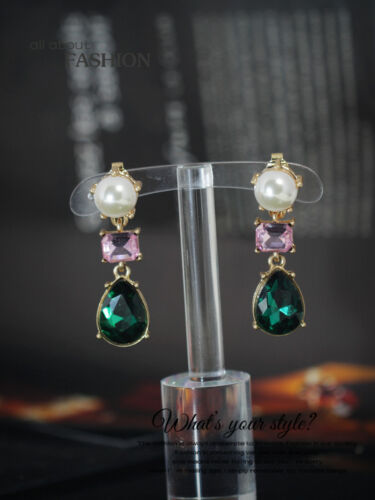 Costume Class Clip on Earrings Gold Dangle Pearl Drop Emerald Pink Vintage J2