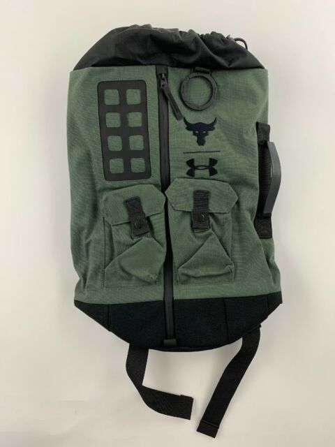 eb317d830b45 UA X Under Armour Project THE ROCK DJ 60 Green Military Duffle Bag Backpack  NWT
