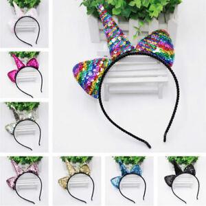 Kids-Reversible-sequins-Cartoon-Headband-Head-Bands-Cute-Unicorn-Hairband