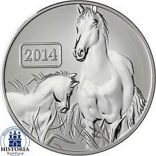 Lunar Pferd Silbermünze Tokelau 5 Dollars 2014 Reverse Proof 1 Unze Silber