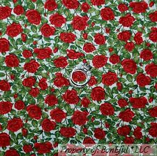 BonEful Fabric Cotton Quilt Red White Green Rose FLOWER Small Cottage Sale SCRAP