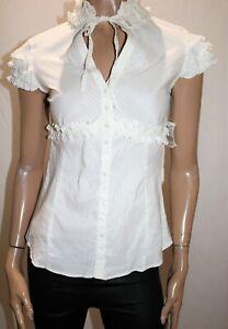 Zara-Basic-Brand-White-Textured-Cap-Sleeve-Tie-Neck-Blouse-Size-M-BNWT-RC103
