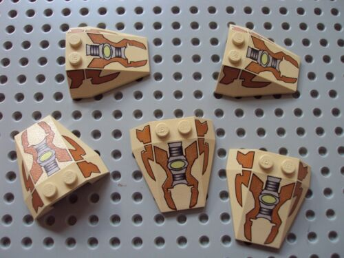 Lego ~ Lot Of 5 Wedge Shaped Printed Bricks Electronic Space Ship Slope #xvcfd