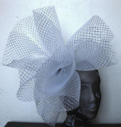 silver feather fascinator millinery burlesque headband wedding hat hair piece