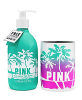 Victoria's Secret Pink Palm Leaves & Tiare Flower 12 Oz Lotion & Free Koozie