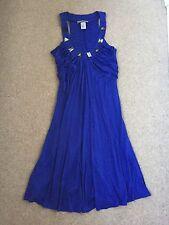 Prairie New York 100% Seda Vestido Azul Cobalto, Talla M, limpieza en seco