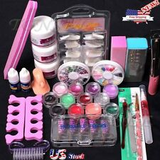 Pro Acrylic Liquid Nail Tips Art Brush Glue Glitter Powder Buffer Tools Set Kit