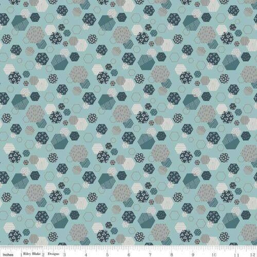 Riley Blake Dinosaur Fossil Hexagons Blue Print Fabric FQ or More 100/%Cotton