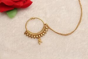 Bollywood Gold Nose Ring Chain Nath Bridal Nose Ring Indian Gold