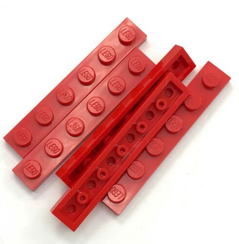 Lego 5 New Red Plate 1 x 6  Dot Parts Pieces