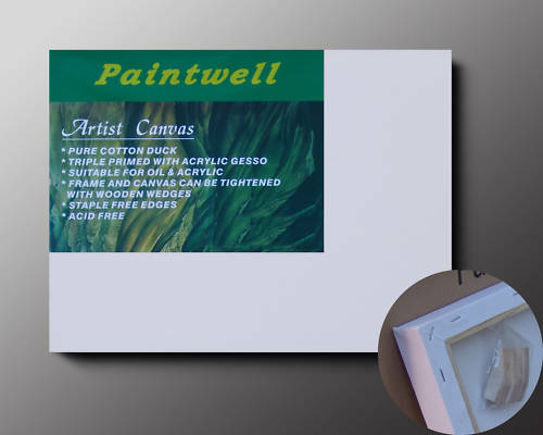 "5 Piece Carton of Paintwell Stretched Canvas 1.5"" 38mm 12x48"" 30x120cm"