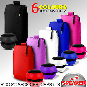 LEATHER-PULL-TAB-POUCH-SKIN-CASE-COVER-amp-MINI-SPEAKER-FOR-VARIOUS-MOBILEPHONES