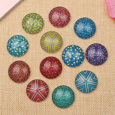 10 Colour Dots Pattern Cabochons Mixed Round Glass Cabochon Flat Back 10mm 20mm