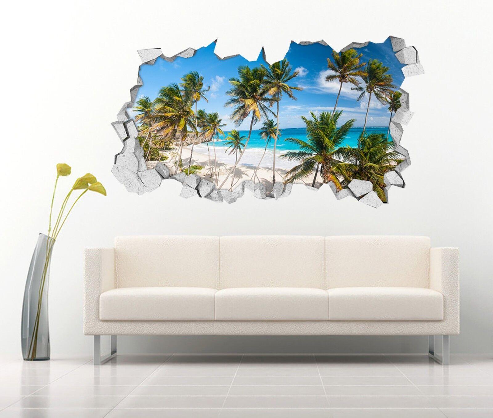 3D Strand Bäume 013 Mauer Murals Mauer Aufklebe Decal Durchbruch AJ WALLPAPER DE