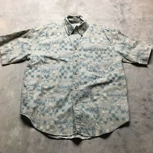90s-VTG-BUGLE-BOY-All-Over-VAPORWAVE-Print-M-Funky-Abstract-Shirt-Tribal-BOXY